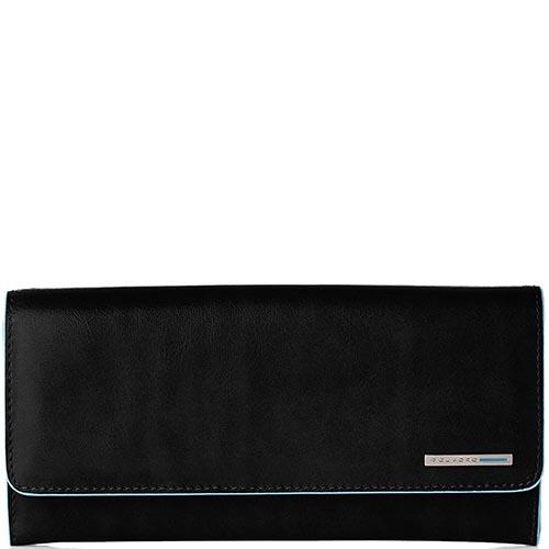 Вертикальное черное портмоне Piquadro Blue Square на молнии, фото
