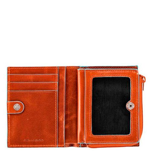 Кредитница Piquadro Bl Square на молнии оранжевого цвета, фото
