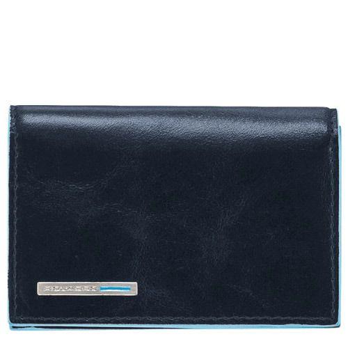 Визитница Piquadro для своих визиток на кнопке Blue Square темно-синяя, фото
