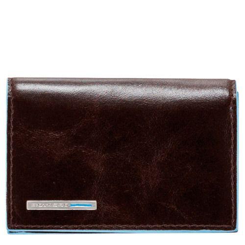 Визитница Piquadro для своих визиток на кнопке Blue Square коричневая, фото