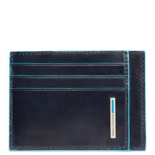 Кредитница Piquadro Bl Square с RFID защитой синего цвета, фото
