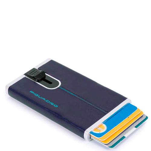 Кредитница Piquadro Bl Square с выдвижным механизмом синего цвета, фото