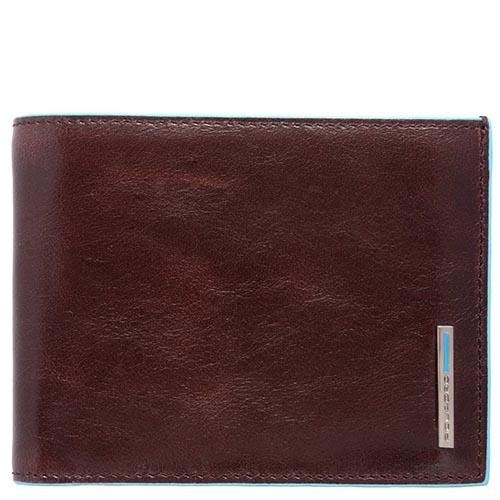 Горизонтальное портмоне Piquadro Blue Square из кожи коричневого цвета, фото