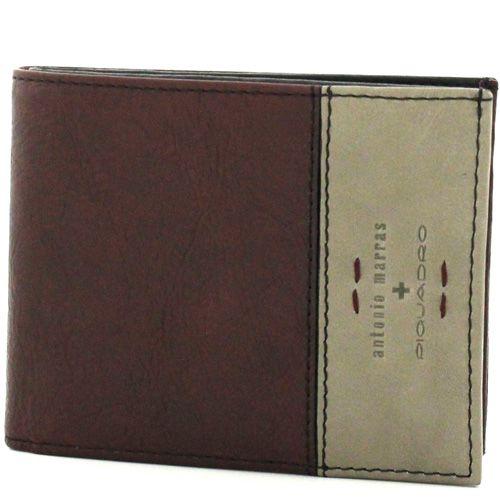 Кожаное портмоне Piquadro by Antonio Marras бежево-бордовое на 12 карт, фото