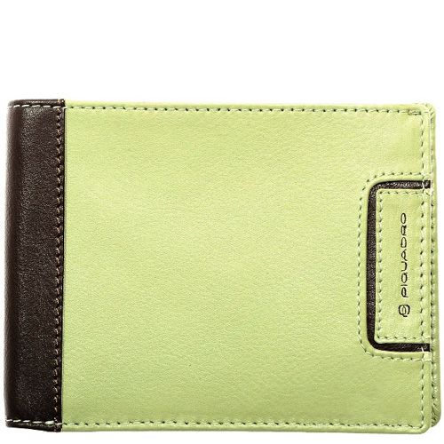 Кожаное портмоне Piquadro Pop в сочетании бежево-зеленого и темно-коричневого цвета, фото