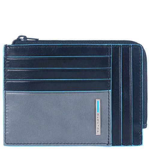 Кожаная кредитница Piquadro Blue square серо-синяя с отделением на молнии, фото