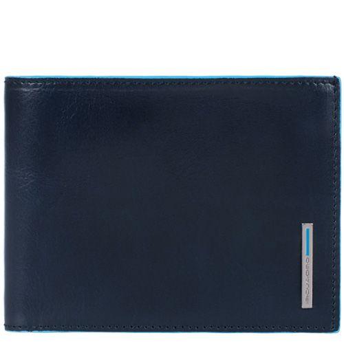 Кожаное портмоне Piquadro Blue Square темно-синее и серое внутри с монетницей, фото