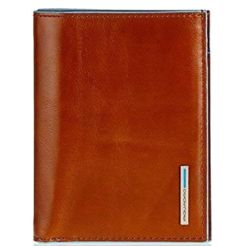 Вертикальное портмоне Piquadro Blue Square из кожи оранжевого цвета, фото