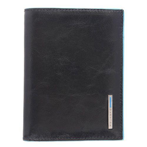 Портмоне вертикальное Piquadro на 9 кредитных карт Blue square черное, фото