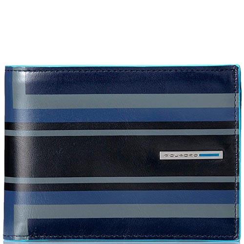Горизонтальное черное портмоне Piquadro B2 Graphic с геометрическим рисунком, фото
