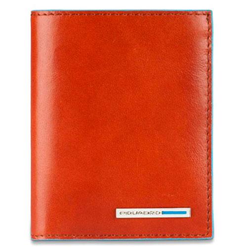 Портмоне Piquadro Bl Square с отделением для кредитных карт оранжевого цвета, фото