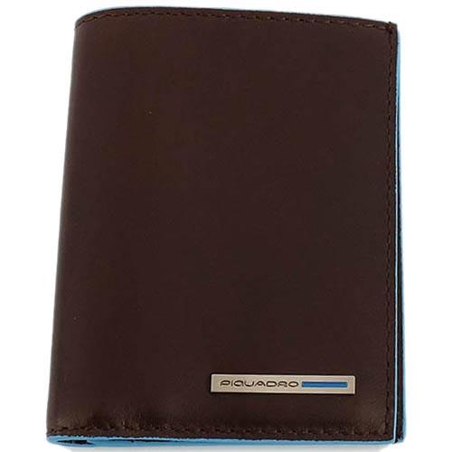 Коричневое портмоне Piquadro Blue Square из кожи с голубым кантом, фото
