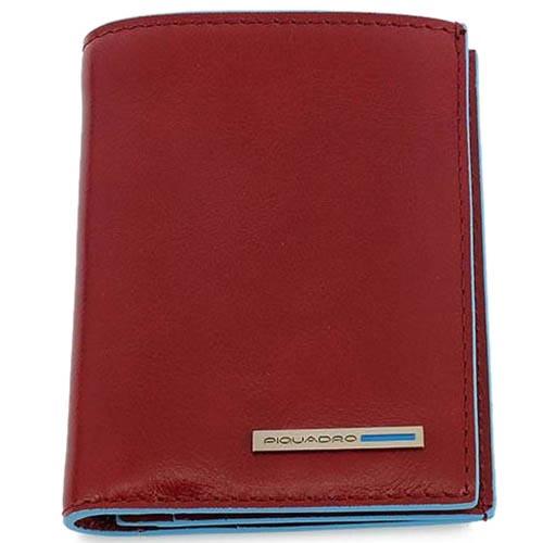 Бордовое портмоне Piquadro Blue Square из кожи с голубым кантом, фото