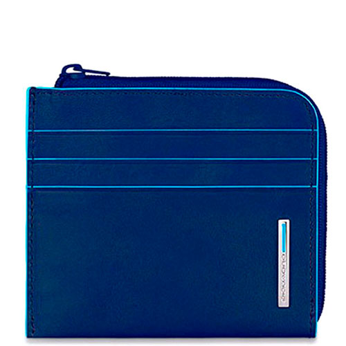 Кредитница Piquadro Bl Square синего цвета с отделением для монет, фото