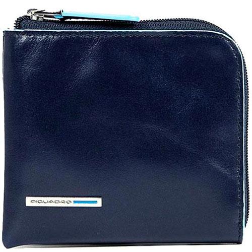 Синяя кредитница Piquadro Bl Square на молнии и RFID защитой , фото