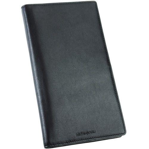 Трэвел-портмоне Samsonite кожаное черное вертикальное, фото