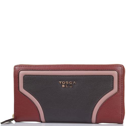Женское портмоне Tosca Blu бордового цвета с коричневыми вставками, фото