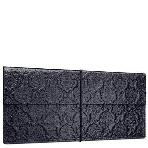 Черный кожаный кейс Moreca Damask для авиабилетов и банкнот, фото
