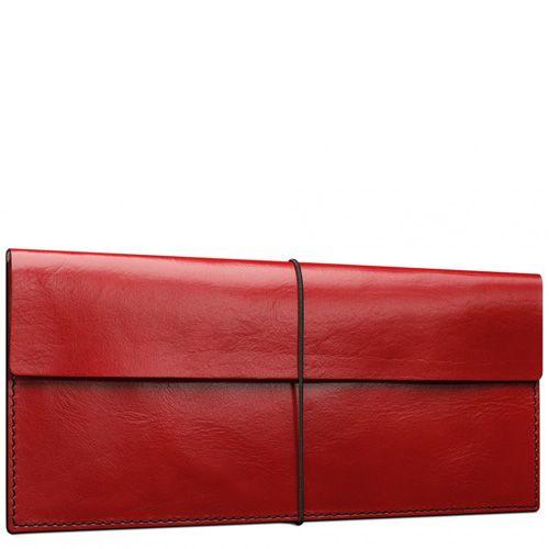 Кейс Moreca для авиабилетов и банкнот красный кожаный на резинке, фото