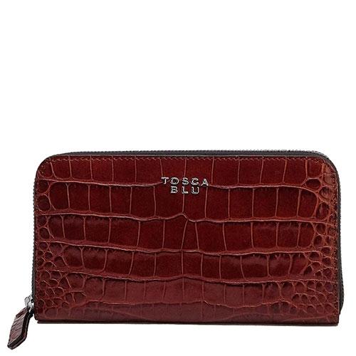 Бордовый кошелек Tosca Blu с принтом под рептилию, фото