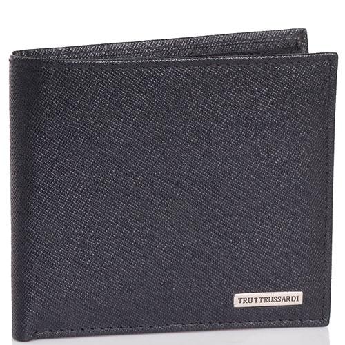 Мужское портмоне Trussardi Jeans из тисненой кожи черного цвета, фото