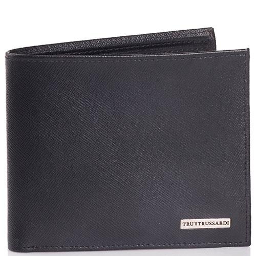 Портмоне Trussardi Jeans черного цвета из кожи с тиснением сафьяно, фото