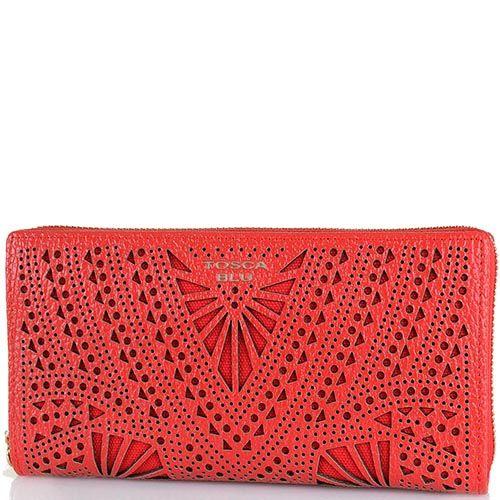 Портмоне Tosca Blu красного цвета из перфорированной кожи, фото
