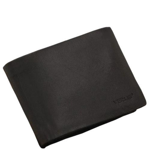 Горизонтальное минималистичное портмоне Verus Mil из черной гладкой кожи, фото