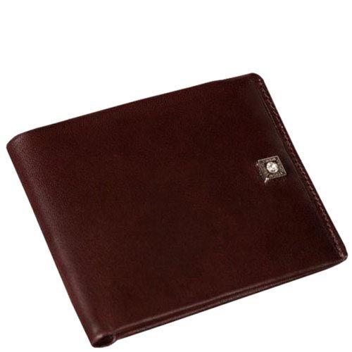 Минималистичный кожаный Verus Paris кошелек коричневого цвета с фирменной шильдой, фото