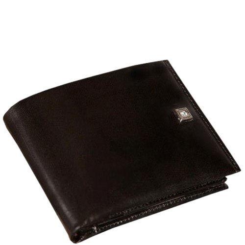 Черный кожаный кошелек Verus Paris из натуральной кожи в фирменным тиснением, фото