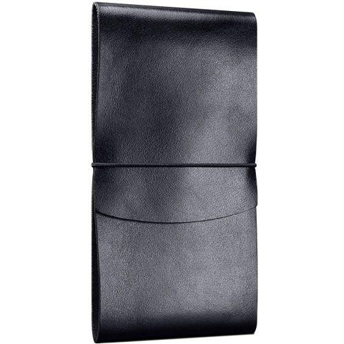 Вертикальное черное кожаное портмоне Moreca Wallet Black на резинке, фото