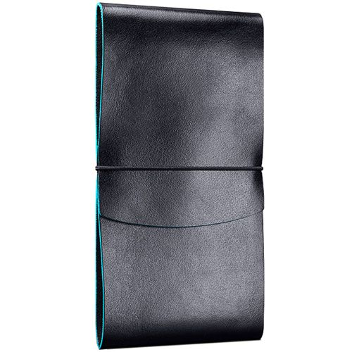 Вертикальное черное кожаное портмоне Moreca Metropolis Wallet Dubai на резинке, фото
