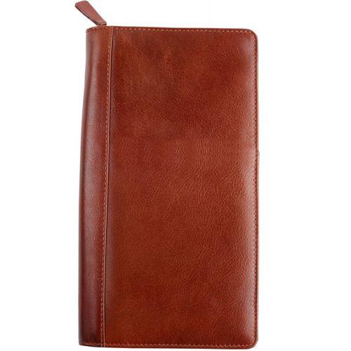 Трэвел-портмоне William Lloyd кожаное коричневое вертикальное, фото