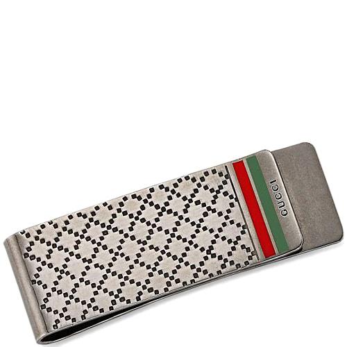 Серебряный зажим Gucci Diamantissima для денег с гравировкой и цветной эмалью, фото