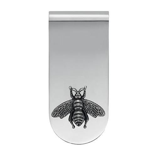 Серебряный зажим для денег Gucci Gucci с декором в виде пчелы, фото
