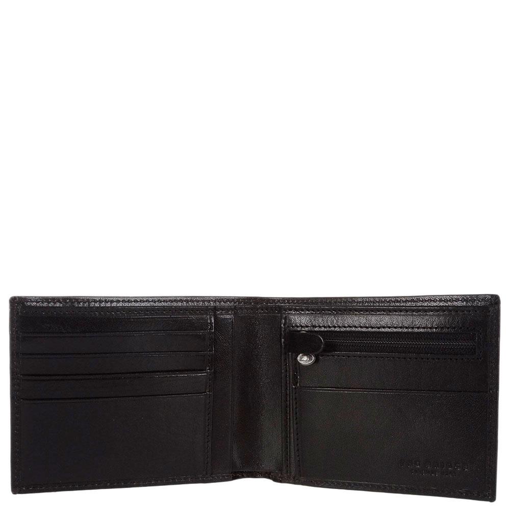 Портмоне мужское с карманом для монет на молнии The Bridge Story Uomo черного цвета