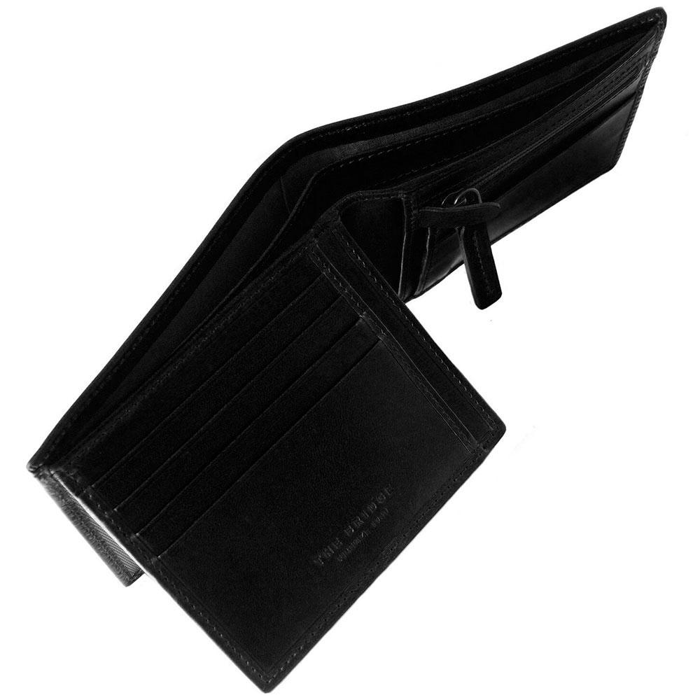 Портмоне мужское с карманом для монет на молнии The Bridge Fitzroy черного цвета