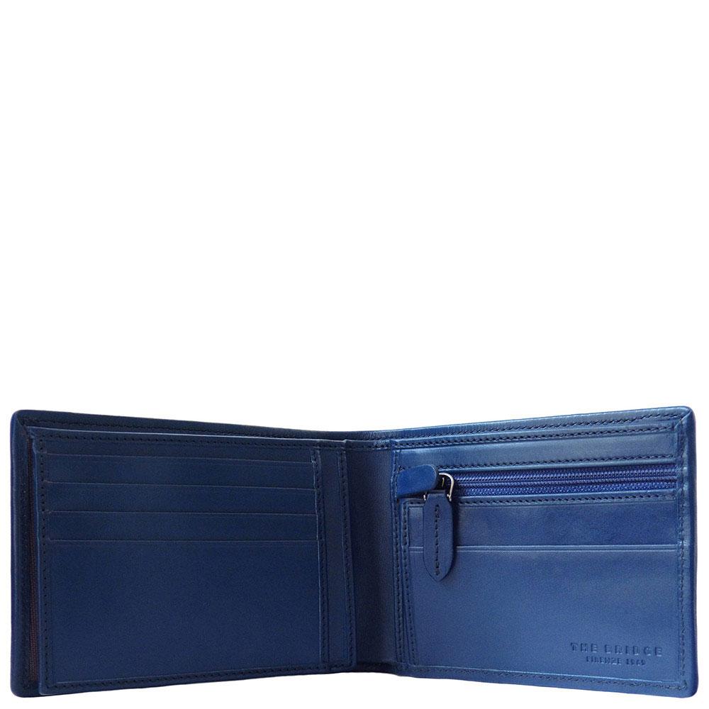 Кожаное мужское портмоне The Bridge Hydro синее с черным
