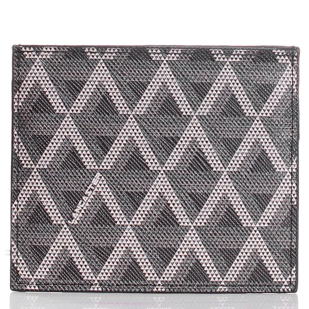Кардхолдер из кожи сафьяно с геометрическим принтом Lancaster черный с серым