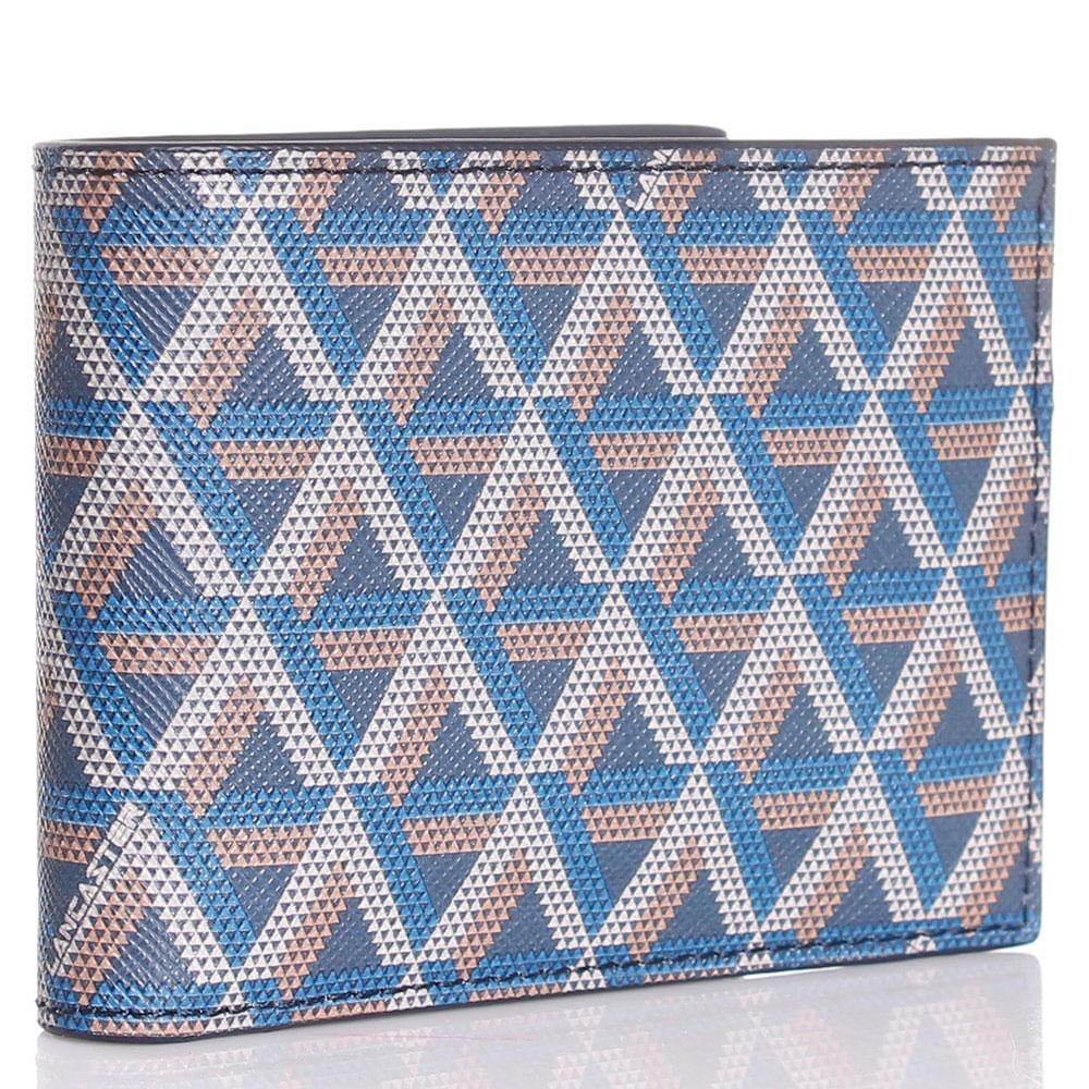 Портмоне из кожи сафьяно Lancaster синего цвета с геометрическим принтом