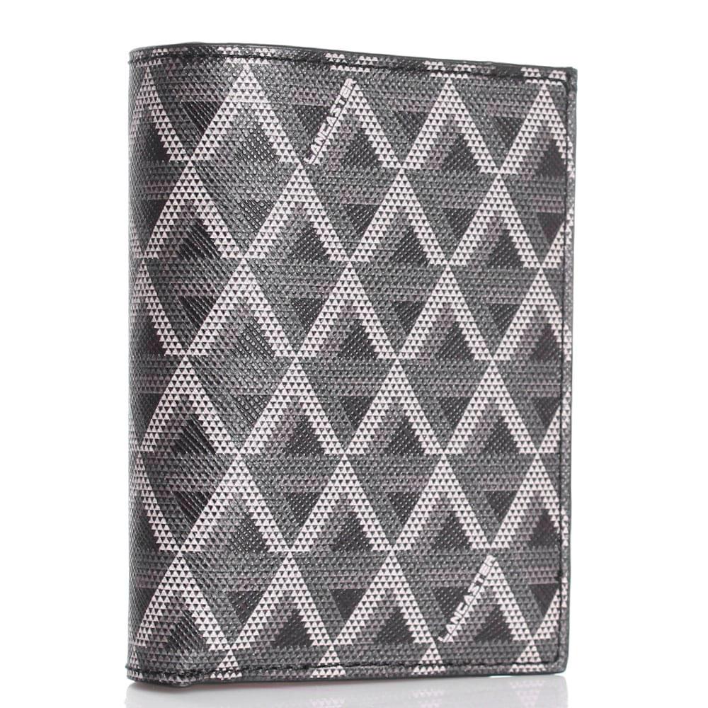Бумажник из кожи сафьяно Lancaster серый с черным