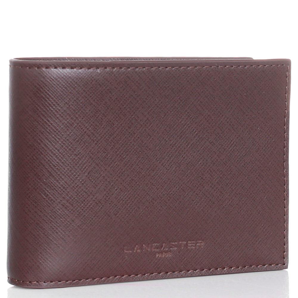 Коричневое портмоне Lancaster из кожи с тиснением сафьяно