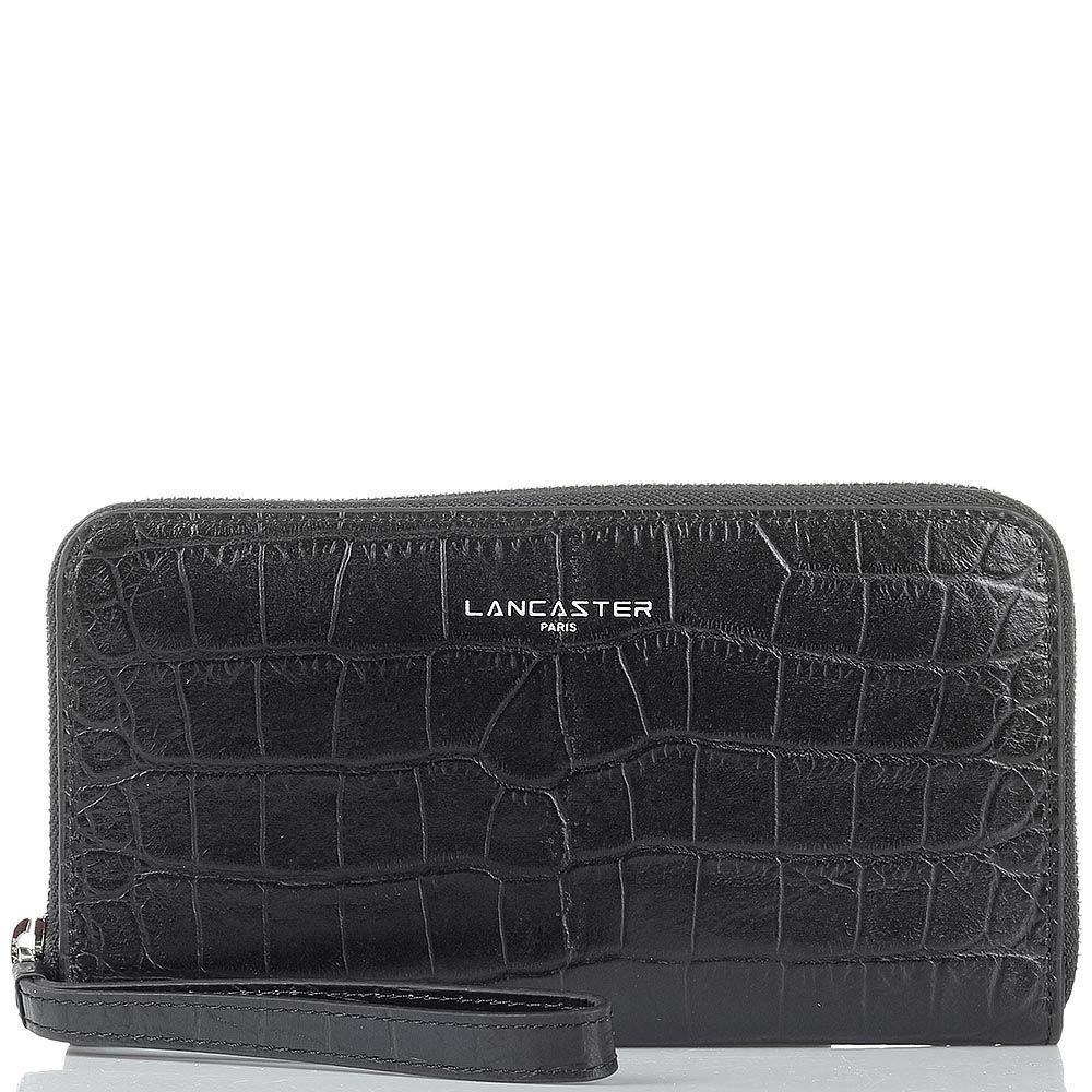 Портмоне Lancaster из натуральной кожи черного цвета с фактурой кроко