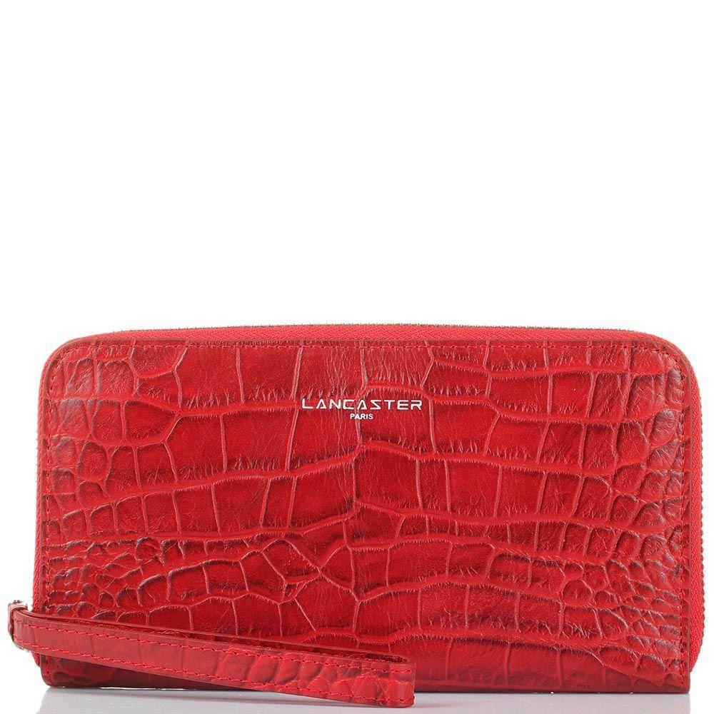 Женское портмоне Lancaster из кожи красного цвета под кожу рептилии