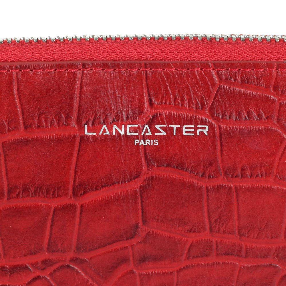 Женское портмоне Lancaster из натуральной кожи красного цвета под кожу рептилии