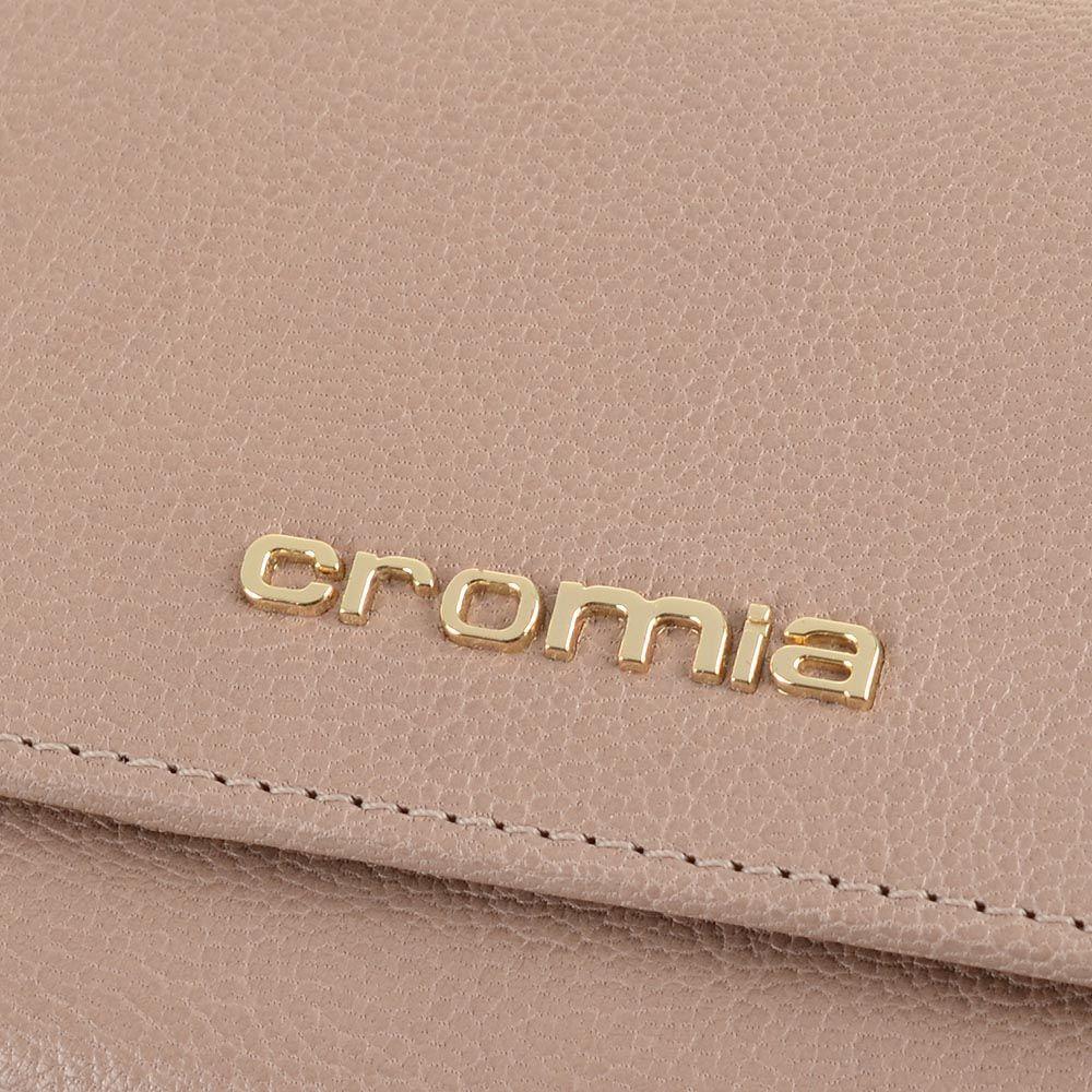 Женское портмоне Cromia Achela кожаное бежевое на кнопке