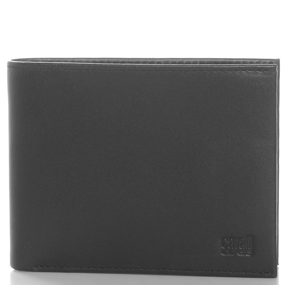Черное портмоне Cavalli Class из гладкой кожи