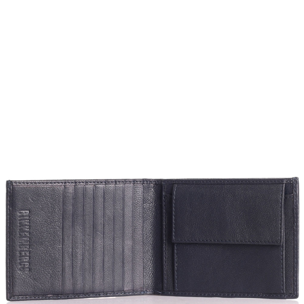 Темно-синее портмоне Bikkembergs с брендовым декором