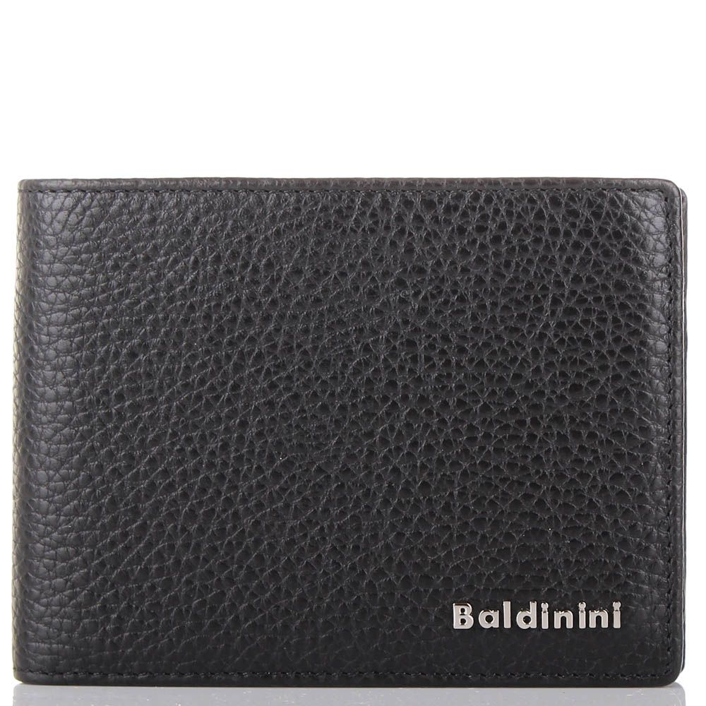Портмоне Baldinini черного цвета среднего размера из крупнозернистой кожи