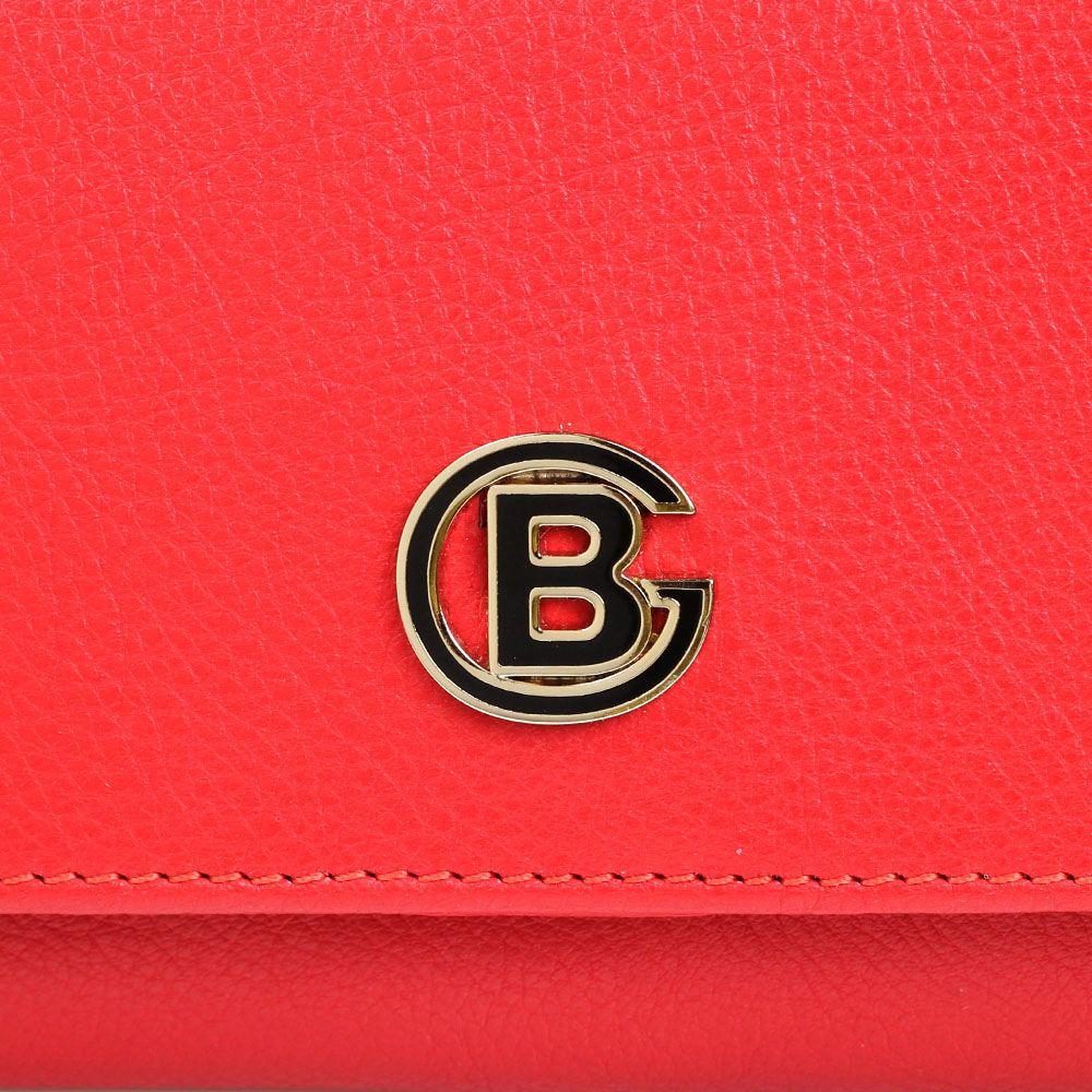 Портмоне Baldinini красного цвета из мелкозернистой кожи и застегивается на кнопку